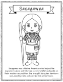 Sacagawea Coloring Page Craft or Poster with Mini Biography, Native American