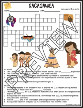 Sacagawea Activities Crossword Puzzle and Word Search Find