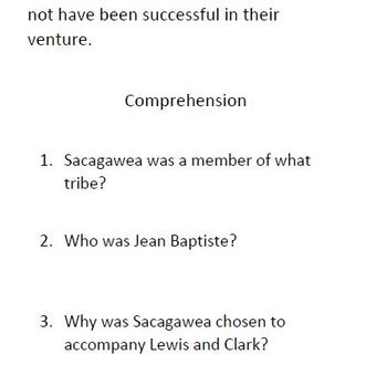 Sacagawea Informational Text and Comprehension Questions