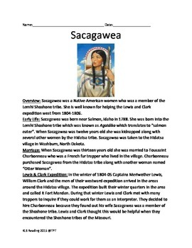 Sacagawea Life Story Lesson Facts Information Questions Vo