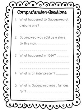 Sacagawea Reading Passage and Comprehension Questions