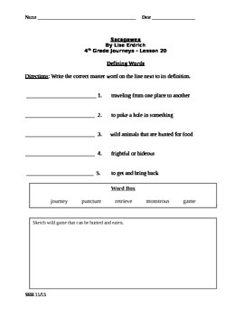 Journeys Common Core 4th - Sacagawea Supplemental Packet for the SLP