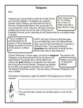 Sacagawea: Informational Text Passages & Printables