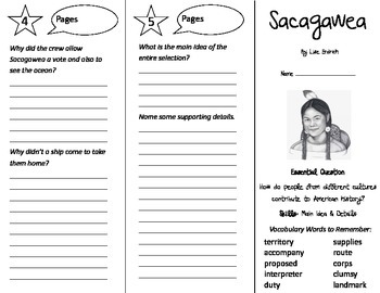 Sacagawea Trifold - Journeys 4th Grade Unit 4 Week 5 (2014, 2017)