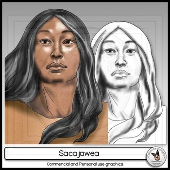 Sacajawea Realistic Clip Art Portrait