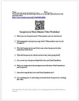 Sacajawea in Three Minutes Video Worksheet (Lewis and Clark Expedition)