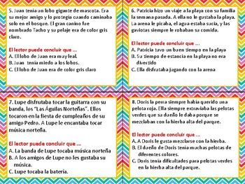Sacando Conclusiones-Drawing Conclusions SPANISH Task Cards