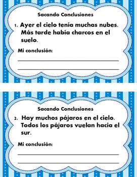 Sacando Conclusiones 2 -Drawing Conclusions Task Cards - Spanish