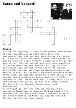 Sacco and Vanzetti Crossword