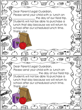 Sack Lunch Note for Field Trips