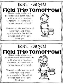 Field Trip Sack Lunch Reminder Note