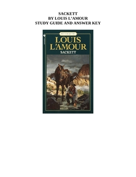 Sackett by Louis L'Amour Study Guide and Answer Key