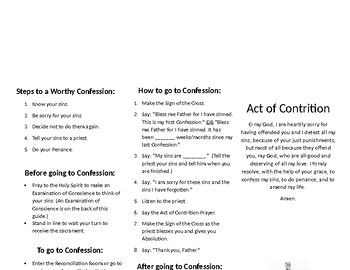 Sacrament of Reconciliation Guide (Trifold)