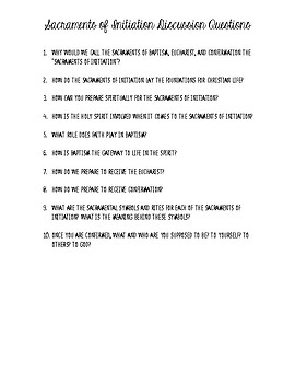 Sacraments of Initiation Discussion Questions