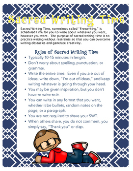 Sacred Writing Time (Freewriting) Anchor Chart