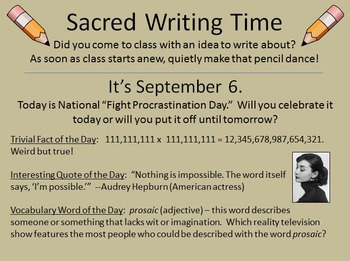 For Writer's Notebooks: Sacred Writing Time Slide Sampler: August 15-Sept. 15