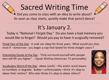 For Writer's Notebooks: Sacred Writing Time Slide Sampler, January 1-31