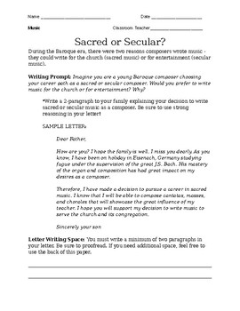 Sacred or Secular? Writing Prompt