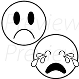 VipKid - Me, Myself and I Lesson - Sad Emojis (black and white version)