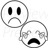 VipKid - Me, Myself and I Lesson - Sad Emojis (black and w