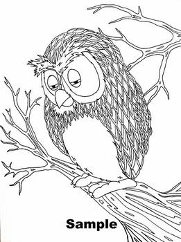 Sad/Tired Owl Color Sheet