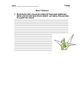 Sadako Picture Book Worksheet and Extended Writing with Rubric