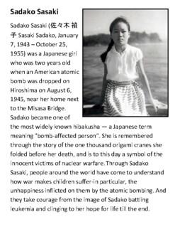 Sadako Sasaki Handout with activities