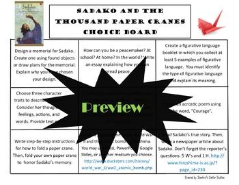 Sadako and the Thousand Paper Cranes Choice Board Novel Activities Menu Project