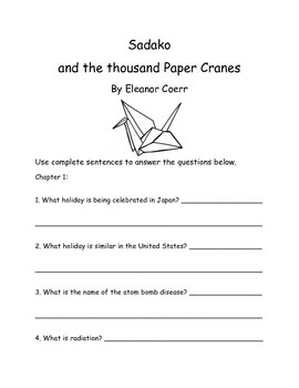 Sadako and the Thousand Paper Cranes by Eleanor Coerr Comprehension Packet