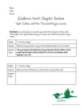 Sadako and the Thousand Paper Cranes Evidence Hunt - No Prep Printable