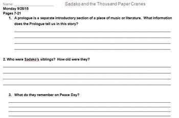 Sadako and the Thousand Paper Cranes Novel Assignment