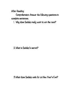 Sadako and the Thousand Paper Cranes Novel Study - Grade 4