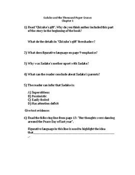 Sadako and the Thousand Paper Cranes Questions