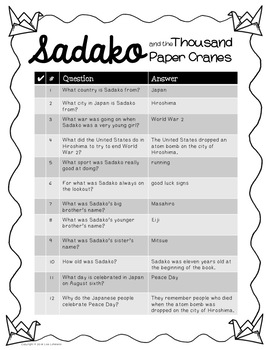 Sadako and the Thousand Paper Cranes Review Game