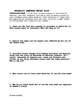 Sadako and the Thousand Paper Cranes Socratic Seminar Kit
