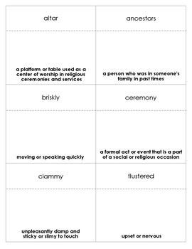 Sadako and the Thousand Paper Cranes Vocabulary Bingo