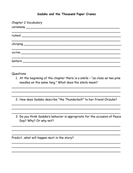 Sadako and the Thousand Paper Cranes Vocabulary and Questions