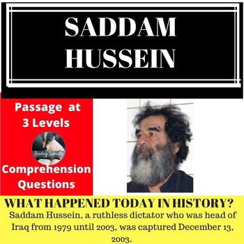 Saddam Hussein Differentiated Reading Passage December 13