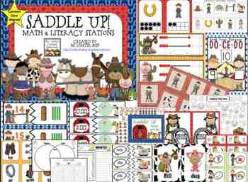 Saddle Up! Math and Literacy Stations {CCSS Aligned}