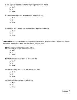 Sadlier Grammar Level Blue Quiz lessons 3, 4, 5