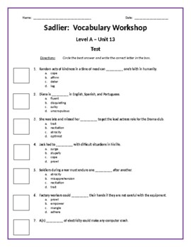Sadlier:  Level A - Unit 13 Test w/ Answer Key (Editable)