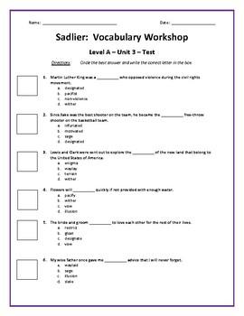 Sadlier:  Level A - Unit 3 Test w/ Answer Key (Editable)