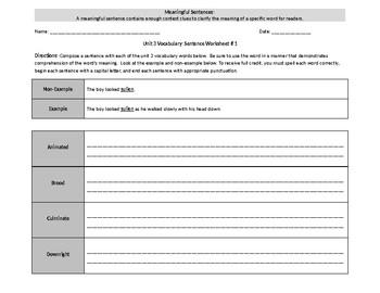 Sadlier Level B Unit 3 Sentences Words 1-10
