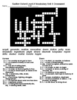 Sadlier-Oxford Level A units 1-6 Crossword and Word Search Puzzles
