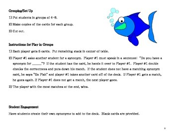 Vocabulary Workshop Level B, Unit 2 Synonym Go Fish