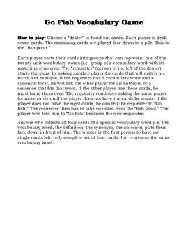 Sadlier-Oxford, Level C Unit 6, Go Fish Card Game