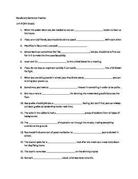 Sadlier Oxford Level D Unit 9 Sentence Practice