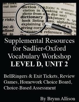 Sadlier-Oxford Level D Vocabulary Supplemental Resources: Unit 2