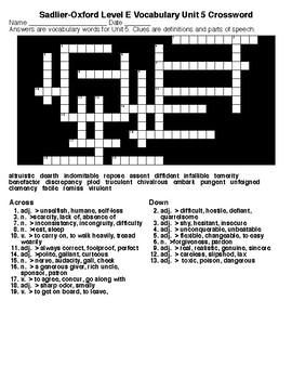 Sadlier-Oxford Level E Vocab. Units 1-15 Crosswords & Word Searches