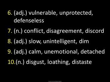 Sadlier-Oxford Level F Vocabulary:  Unit 8 Review Game